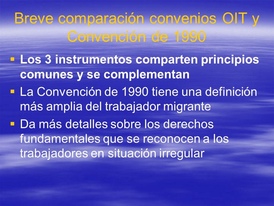 Breve comparación convenios OIT y Convención de 1990 Los 3 instrumentos comparten principios comunes y se complementan La Convención de 1990 tiene una