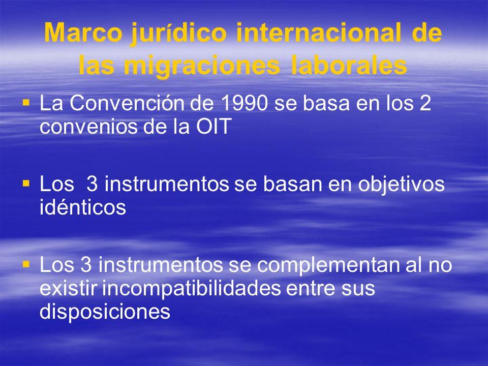 Marco jur í dico internacional de las migraciones laborales La Convención de 1990 se basa en los 2 convenios de la OIT Los 3 instrumentos se basan en