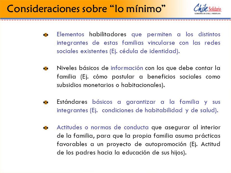 Qué se hace en Dinámica Familiar Las condiciones mínimas que Chile Solidario aborda en esta dimensión, buscan generar al interior de las familias, las oportunidades, contextos y recursos que permitan, desde su sistema de vínculos, un mejor enfrentamiento de riesgos.