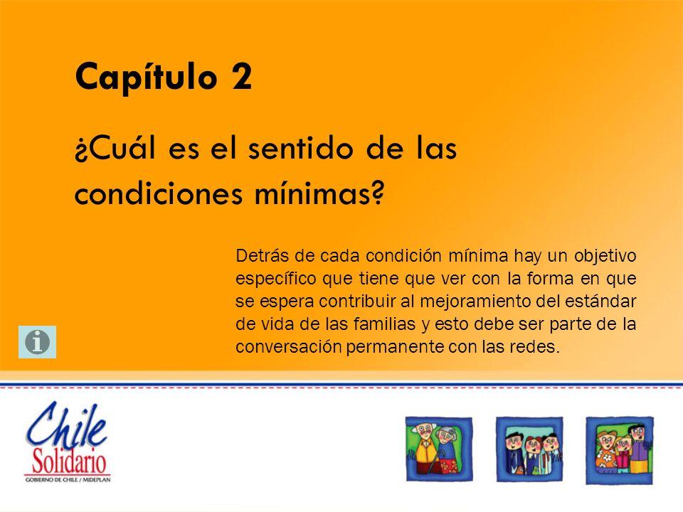 Qué se hace en Habitabilidad Las condiciones mínimas que Chile Solidario aborda en esta dimensión, pretenden mejorar las condiciones de materialidad y equipamiento de las viviendas para mejorar la seguridad, el confort y la dinámica familiar.