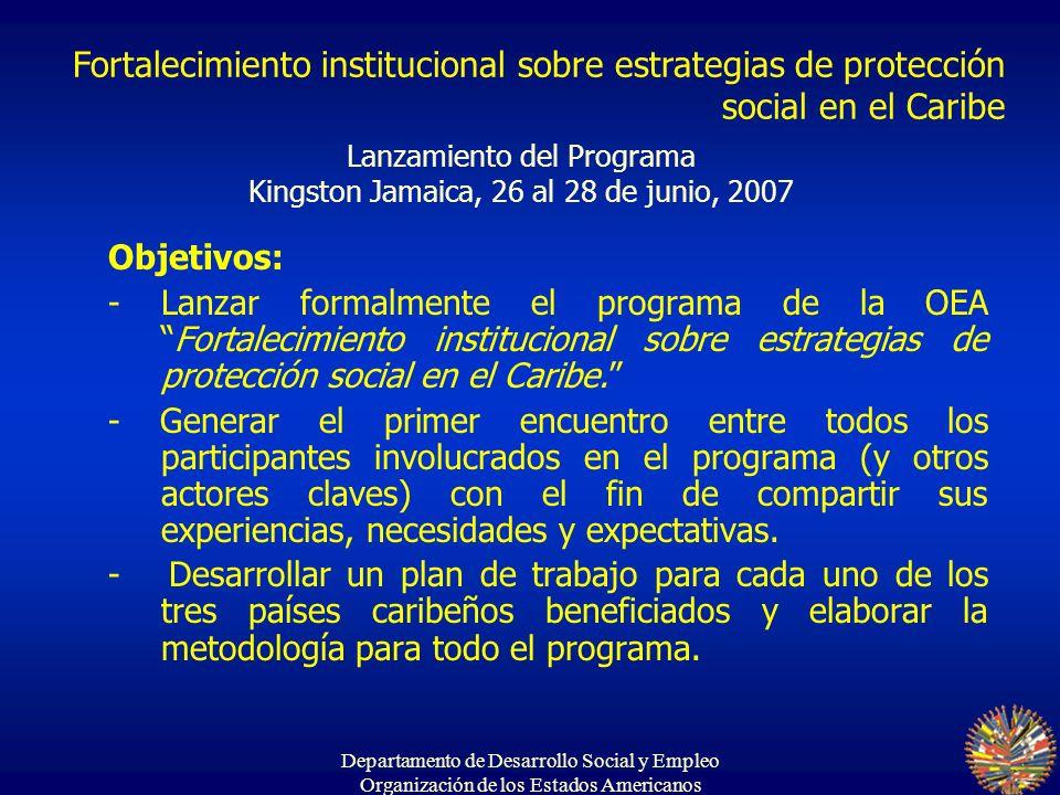 Departamento de Desarrollo Social y Empleo Organización de los Estados Americanos Lanzamiento del Programa Kingston Jamaica, 26 al 28 de junio, 2007 O