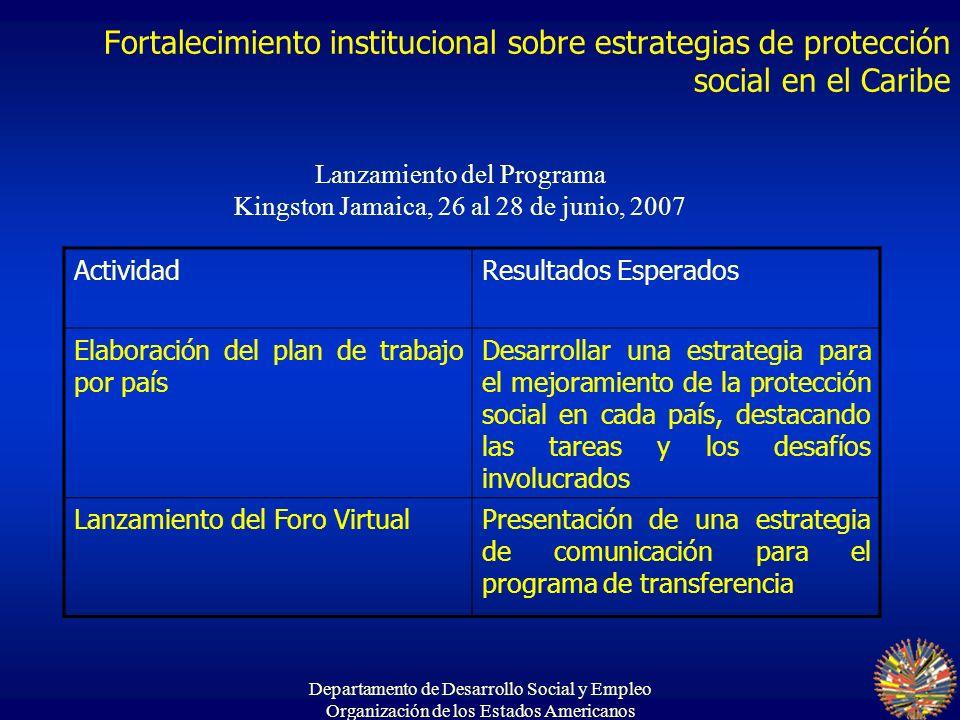 Departamento de Desarrollo Social y Empleo Organización de los Estados Americanos Fortalecimiento institucional sobre estrategias de protección social