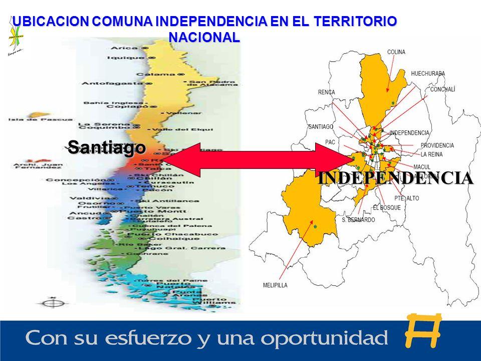 UBICACION COMUNA INDEPENDENCIA EN EL TERRITORIO NACIONAL Santiago INDEPENDENCIA