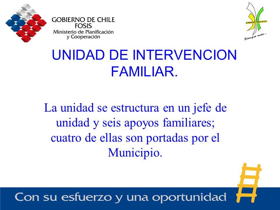 UNIDAD DE INTERVENCION FAMILIAR. La unidad se estructura en un jefe de unidad y seis apoyos familiares; cuatro de ellas son portadas por el Municipio.