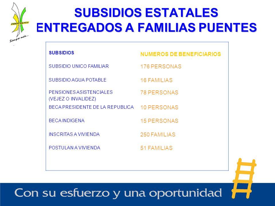 SUBSIDIOS ESTATALES ENTREGADOS A FAMILIAS PUENTES, SUBSIDIOS NUMEROS DE BENEFICIARIOS SUBSIDIO UNICO FAMILIAR 176 PERSONAS SUBSIDIO AGUA POTABLE 16 FA