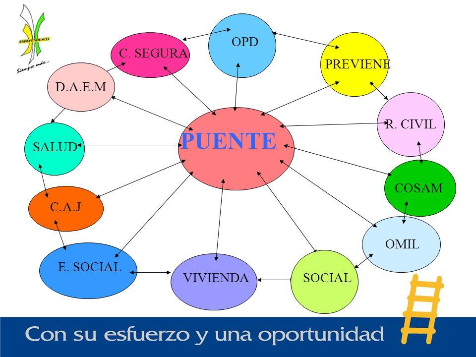 PUENTE C. SEGURA COSAM OMIL VIVIENDA E. SOCIAL C.A.J SALUD R. CIVIL OPD PREVIENE SOCIAL D.A.E.M