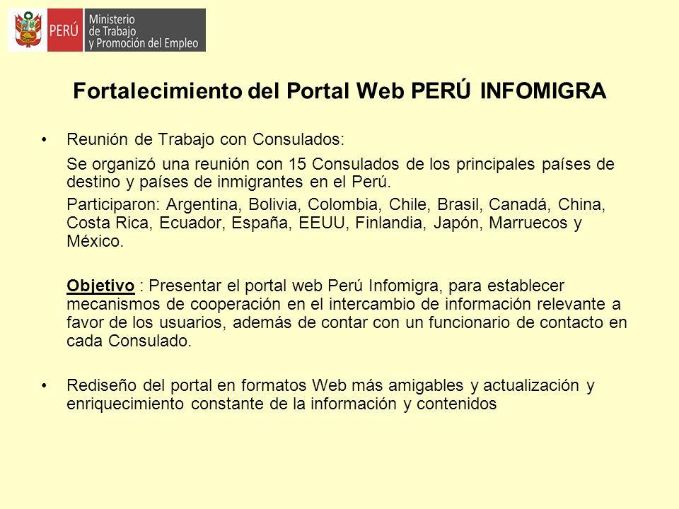 Fortalecimiento del Portal Web PERÚ INFOMIGRA Reunión de Trabajo con Consulados: Se organizó una reunión con 15 Consulados de los principales países d