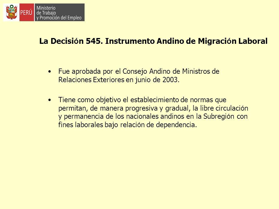 La Decisi ó n 545. Instrumento Andino de Migraci ó n Laboral Fue aprobada por el Consejo Andino de Ministros de Relaciones Exteriores en junio de 2003