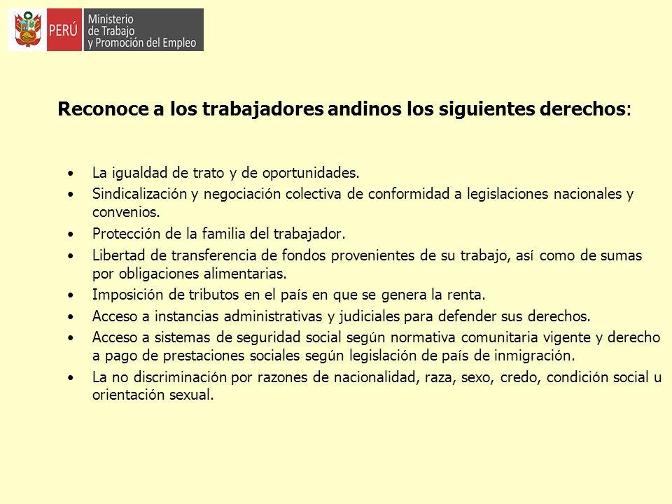 Reconoce a los trabajadores andinos los siguientes derechos : La igualdad de trato y de oportunidades. Sindicalizaci ó n y negociaci ó n colectiva de