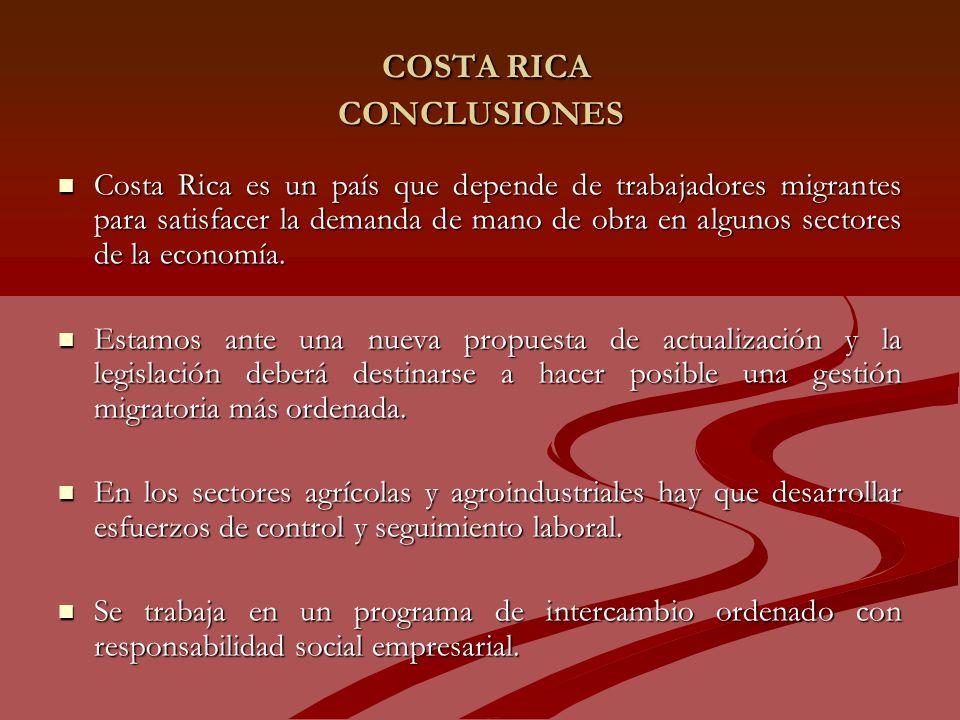 COSTA RICA CONCLUSIONES COSTA RICA CONCLUSIONES Costa Rica es un país que depende de trabajadores migrantes para satisfacer la demanda de mano de obra en algunos sectores de la economía.