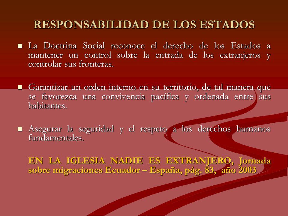 RESPONSABILIDAD DE LOS ESTADOS La Doctrina Social reconoce el derecho de los Estados a mantener un control sobre la entrada de los extranjeros y controlar sus fronteras.