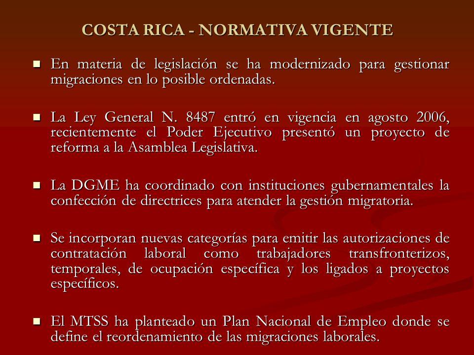 COSTA RICA - NORMATIVA VIGENTE En materia de legislación se ha modernizado para gestionar migraciones en lo posible ordenadas.