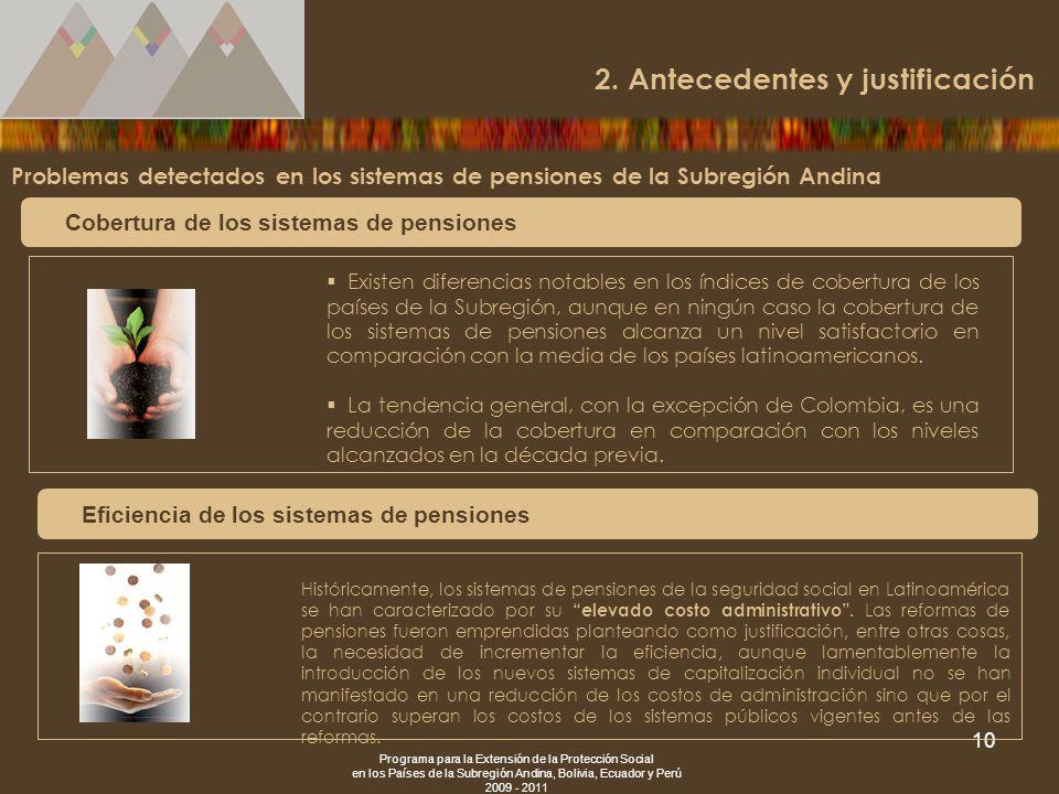 Programa para la Extensión de la Protección Social en los Países de la Subregión Andina, Bolivia, Ecuador y Perú 2009 - 2011 10 Problemas detectados e