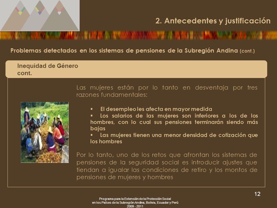 Programa para la Extensión de la Protección Social en los Países de la Subregión Andina, Bolivia, Ecuador y Perú 2009 - 2011 12 Problemas detectados e