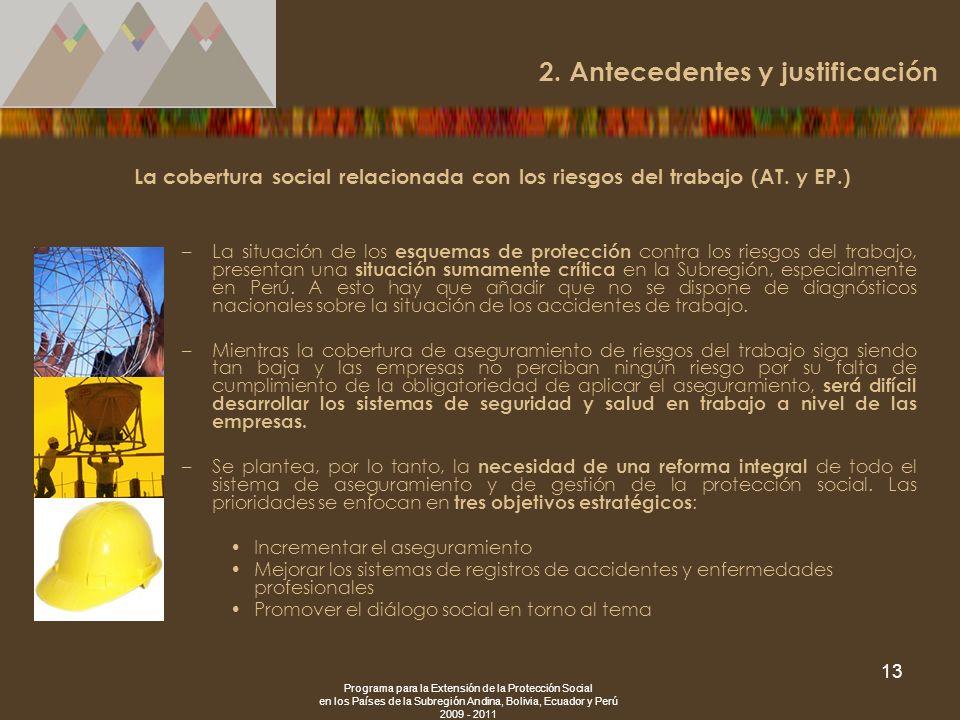 Programa para la Extensión de la Protección Social en los Países de la Subregión Andina, Bolivia, Ecuador y Perú 2009 - 2011 13 La cobertura social re