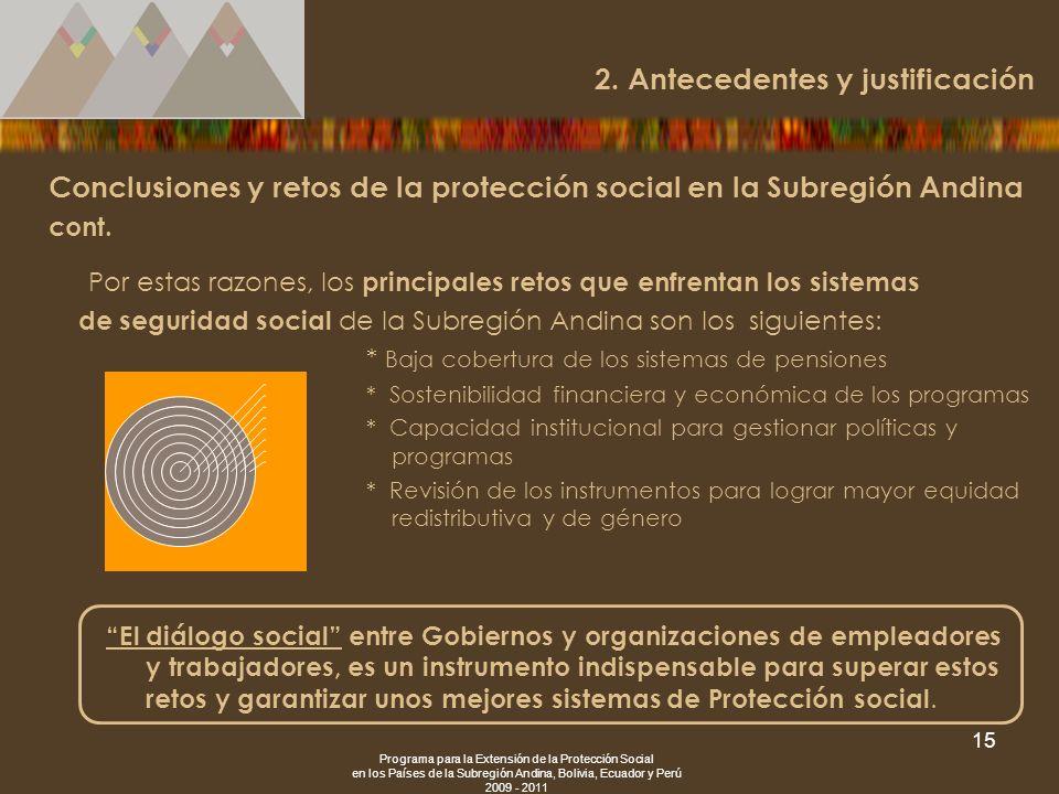 Programa para la Extensión de la Protección Social en los Países de la Subregión Andina, Bolivia, Ecuador y Perú 2009 - 2011 15 Conclusiones y retos d