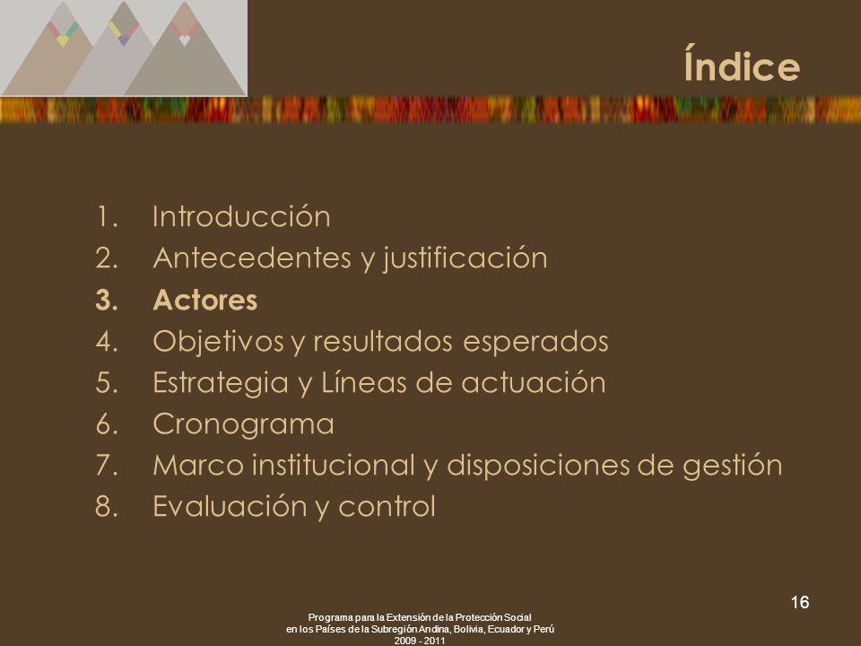 Programa para la Extensión de la Protección Social en los Países de la Subregión Andina, Bolivia, Ecuador y Perú 2009 - 2011 16 1.Introducción 2.Antec