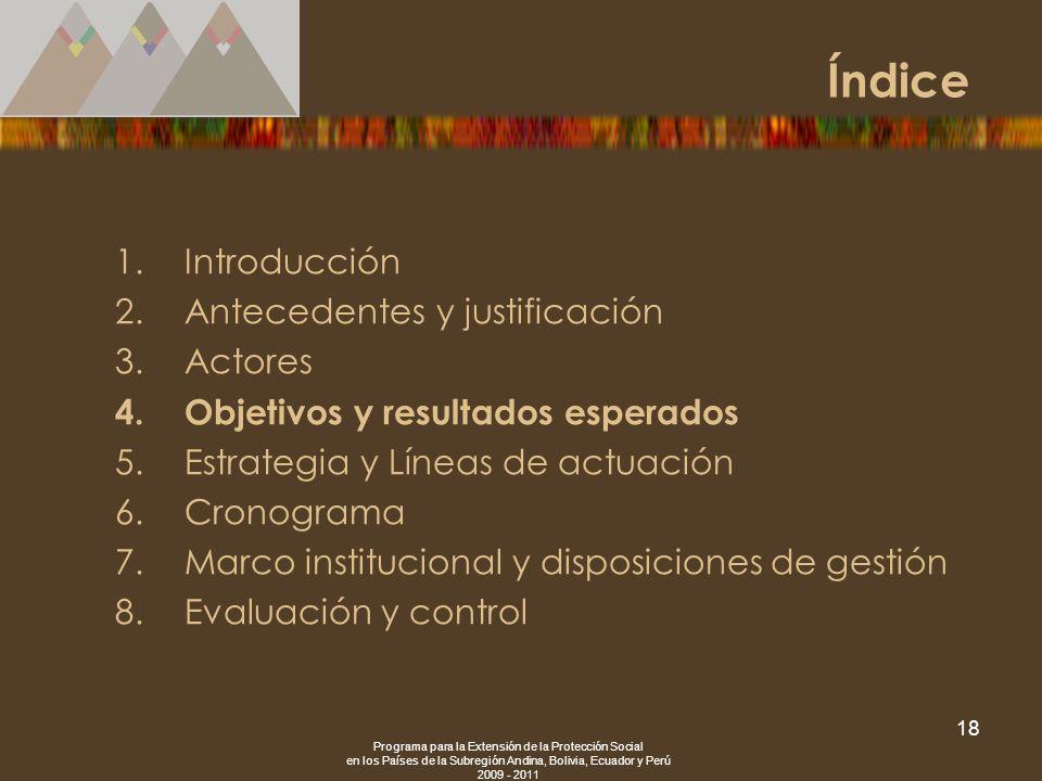 Programa para la Extensión de la Protección Social en los Países de la Subregión Andina, Bolivia, Ecuador y Perú 2009 - 2011 18 1.Introducción 2.Antec