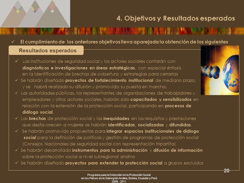 Programa para la Extensión de la Protección Social en los Países de la Subregión Andina, Bolivia, Ecuador y Perú 2009 - 2011 20 El cumplimiento de los