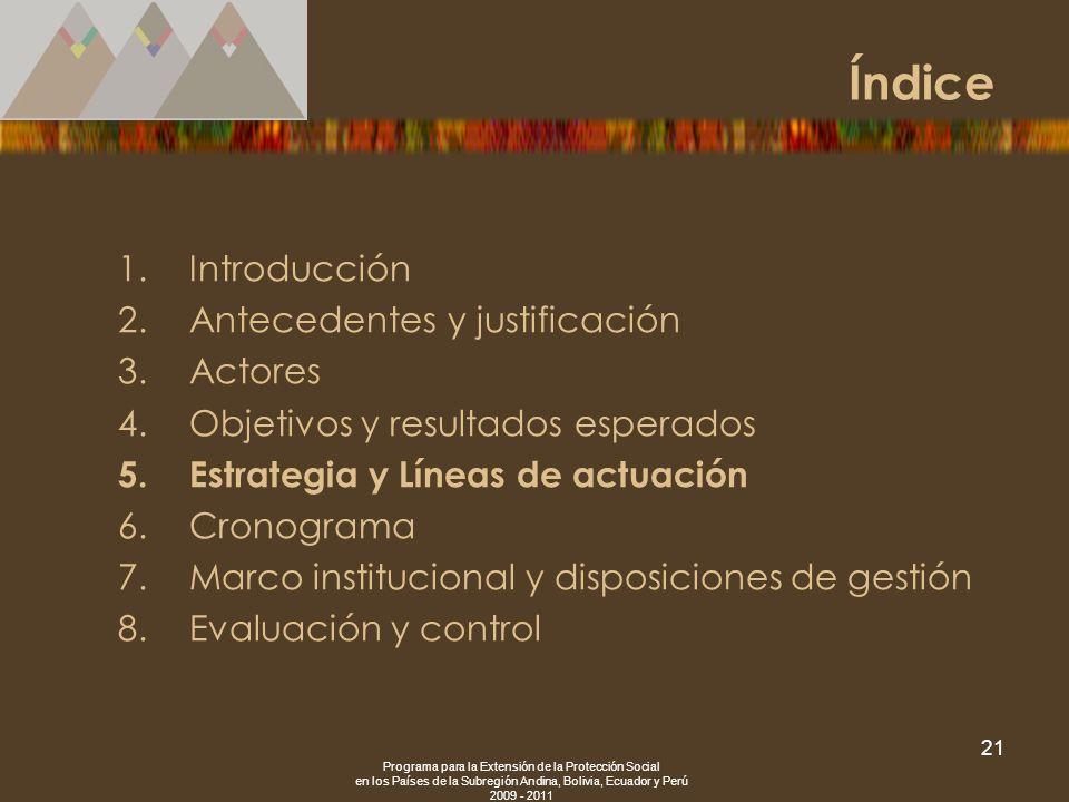 Programa para la Extensión de la Protección Social en los Países de la Subregión Andina, Bolivia, Ecuador y Perú 2009 - 2011 21 1.Introducción 2.Antec