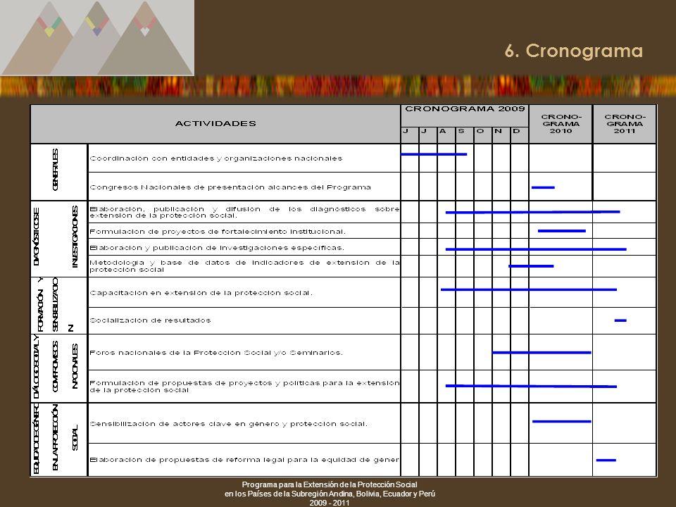 Programa para la Extensión de la Protección Social en los Países de la Subregión Andina, Bolivia, Ecuador y Perú 2009 - 2011 24 6. Cronograma