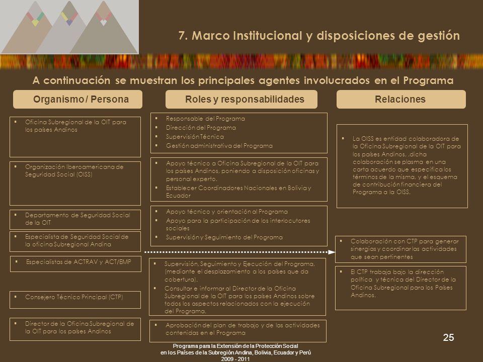 Programa para la Extensión de la Protección Social en los Países de la Subregión Andina, Bolivia, Ecuador y Perú 2009 - 2011 25 7. Marco Institucional