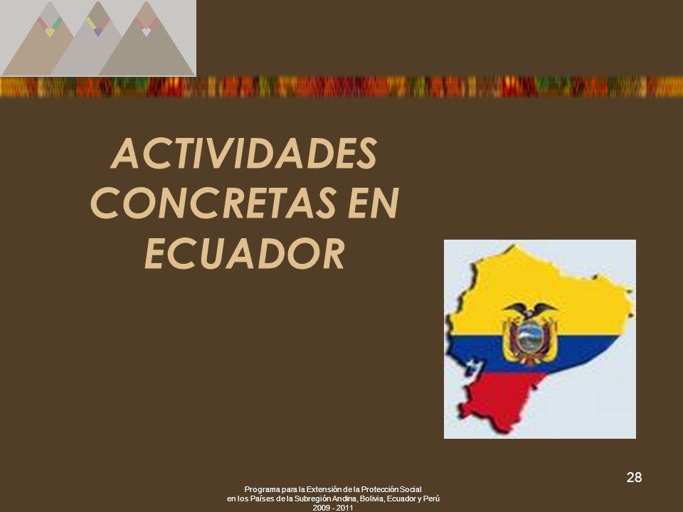 Programa para la Extensión de la Protección Social en los Países de la Subregión Andina, Bolivia, Ecuador y Perú 2009 - 2011 28 ACTIVIDADES CONCRETAS