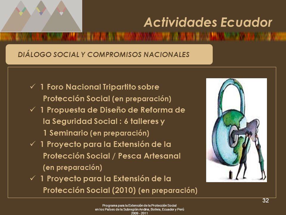 Programa para la Extensión de la Protección Social en los Países de la Subregión Andina, Bolivia, Ecuador y Perú 2009 - 2011 32 DIÁLOGO SOCIAL Y COMPR