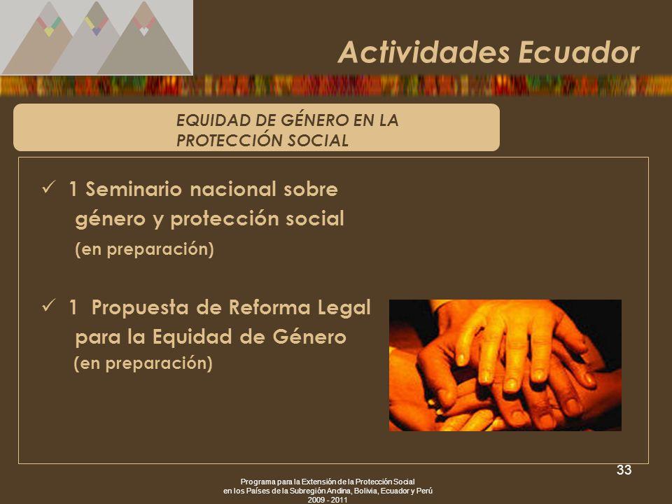 Programa para la Extensión de la Protección Social en los Países de la Subregión Andina, Bolivia, Ecuador y Perú 2009 - 2011 33 EQUIDAD DE GÉNERO EN L