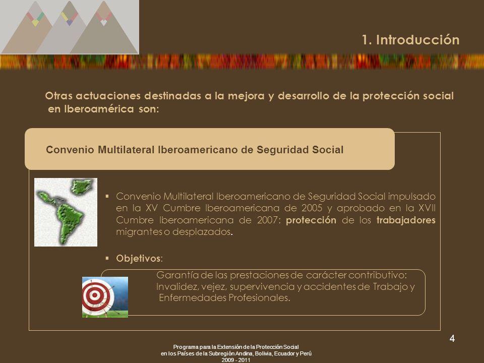 Programa para la Extensión de la Protección Social en los Países de la Subregión Andina, Bolivia, Ecuador y Perú 2009 - 2011 4 Otras actuaciones desti