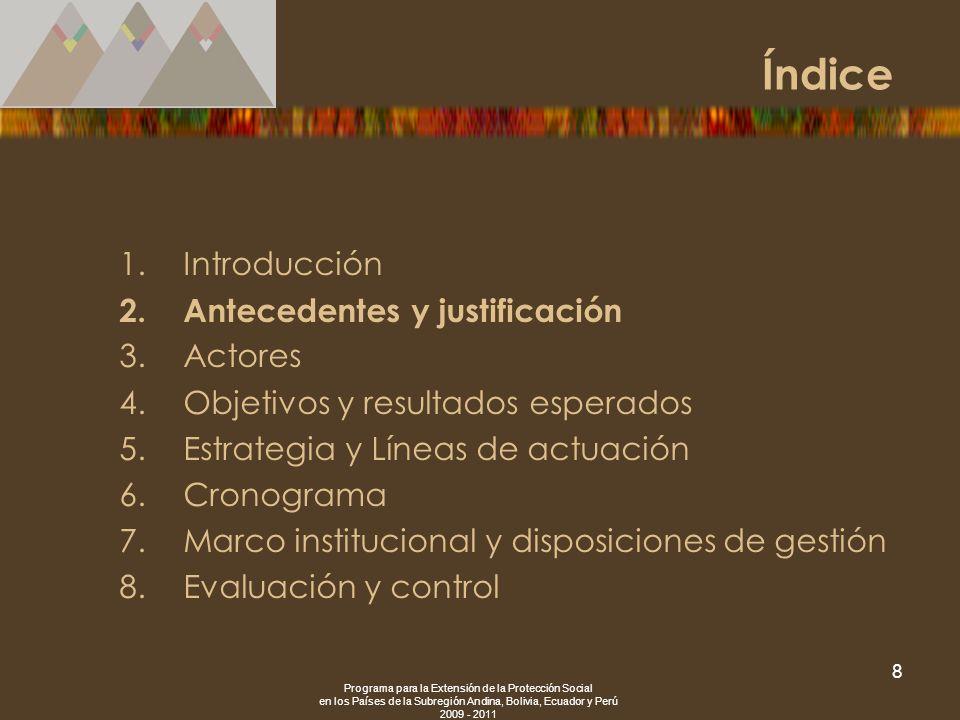 Programa para la Extensión de la Protección Social en los Países de la Subregión Andina, Bolivia, Ecuador y Perú 2009 - 2011 8 1.Introducción 2.Antece