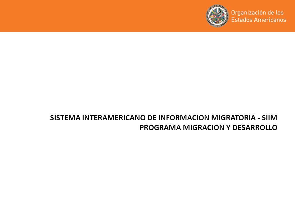 SISTEMA INTERAMERICANO DE INFORMACION MIGRATORIA - SIIM PROGRAMA MIGRACION Y DESARROLLO