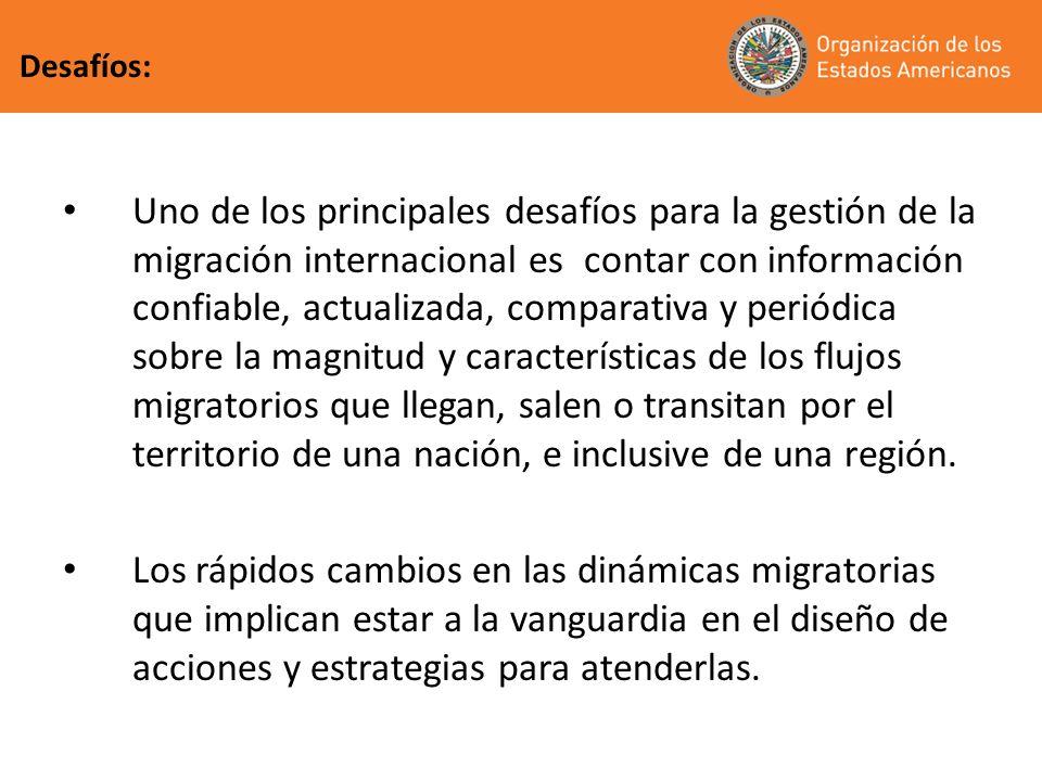 Uno de los principales desafíos para la gestión de la migración internacional es contar con información confiable, actualizada, comparativa y periódic