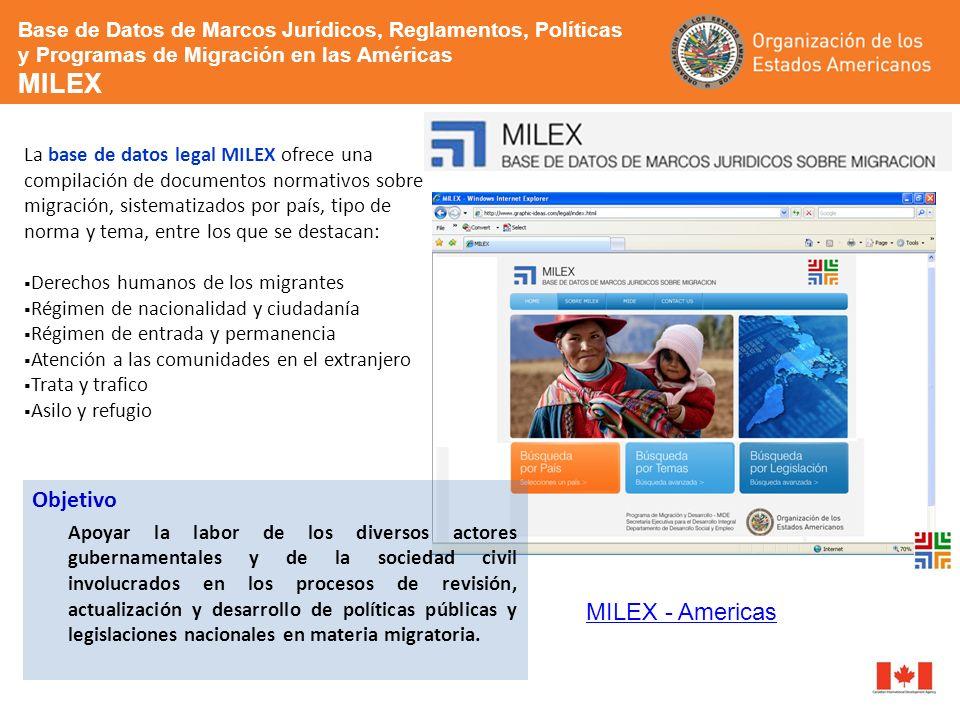La base de datos legal MILEX ofrece una compilación de documentos normativos sobre migración, sistematizados por país, tipo de norma y tema, entre los