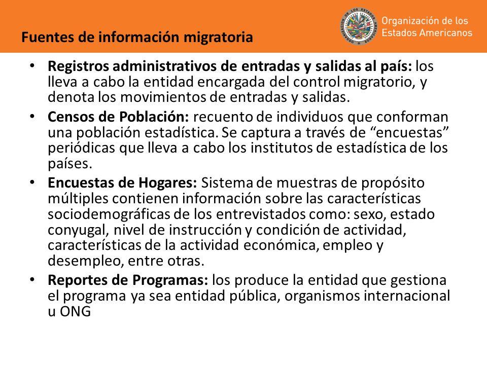 Registros administrativos de entradas y salidas al país: los lleva a cabo la entidad encargada del control migratorio, y denota los movimientos de ent