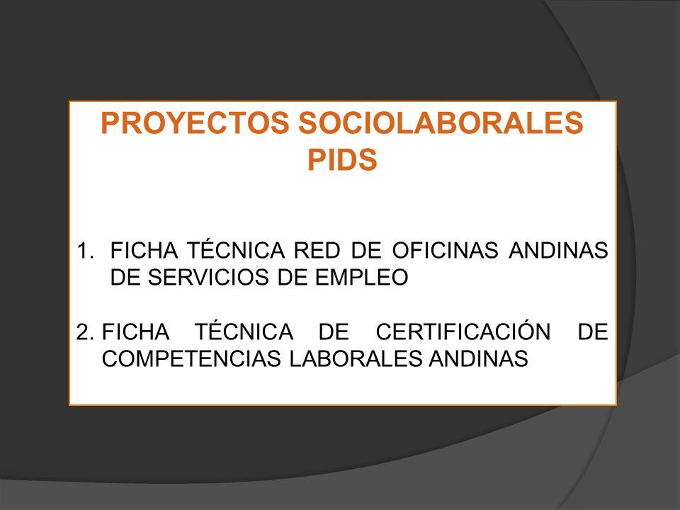 PROYECTOS SOCIOLABORALES PIDS 1.FICHA TÉCNICA RED DE OFICINAS ANDINAS DE SERVICIOS DE EMPLEO 2.FICHA TÉCNICA DE CERTIFICACIÓN DE COMPETENCIAS LABORALES ANDINAS