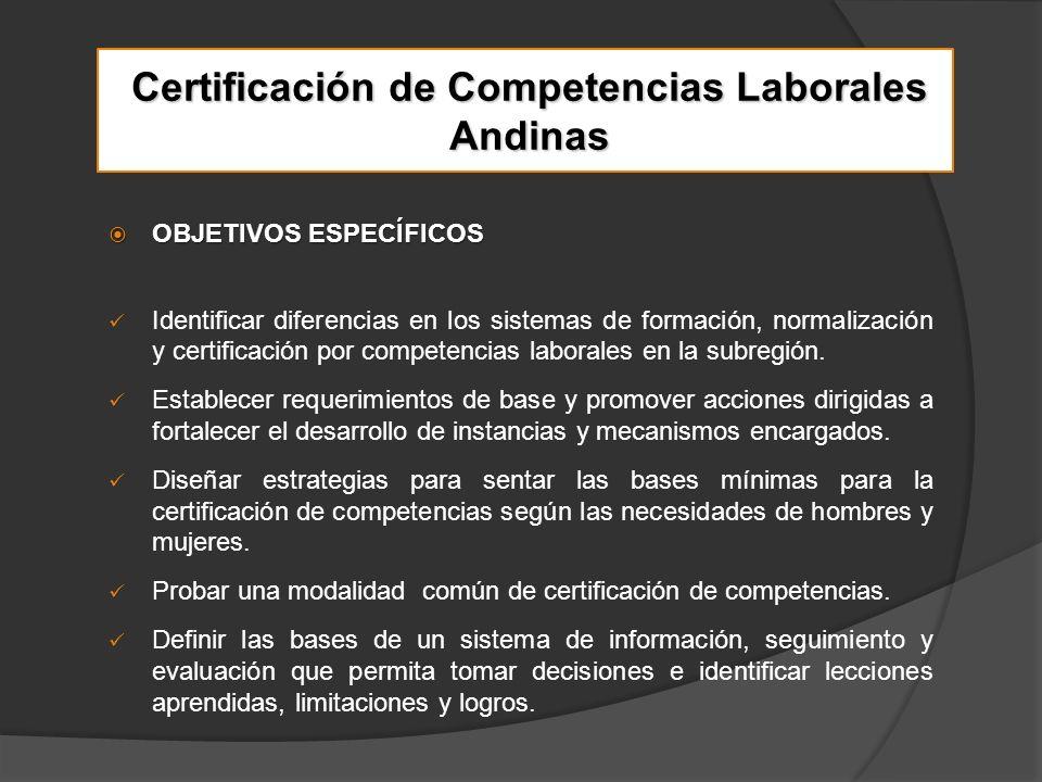 Certificación de Competencias Laborales Andinas OBJETIVOS ESPECÍFICOS OBJETIVOS ESPECÍFICOS Identificar diferencias en los sistemas de formación, normalización y certificación por competencias laborales en la subregión.