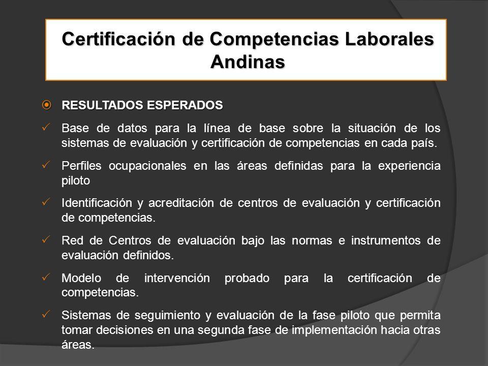 Certificación de Competencias Laborales Andinas RESULTADOS ESPERADOS RESULTADOS ESPERADOS Base de datos para la línea de base sobre la situación de los sistemas de evaluación y certificación de competencias en cada país.