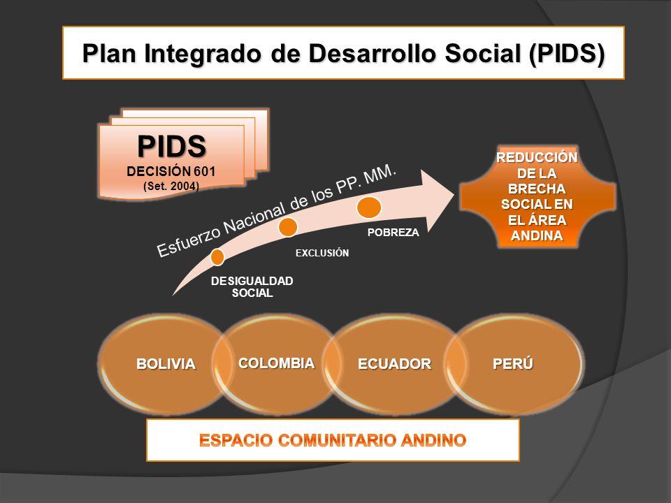 Plan Integrado de Desarrollo Social (PIDS) DESIGUALDAD SOCIAL EXCLUSIÓN POBREZA REDUCCIÓN DE LA BRECHA SOCIAL EN EL ÁREA ANDINA PIDS DECISIÓN 601 (Set.