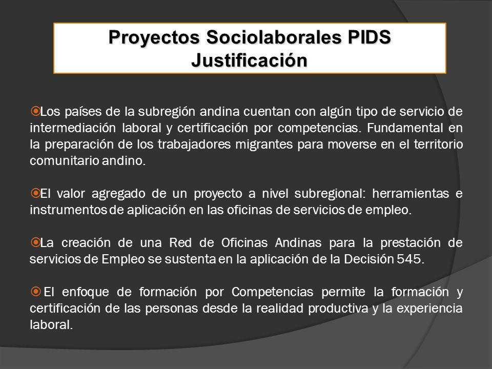Proyectos Sociolaborales PIDS Justificación Los países de la subregión andina cuentan con algún tipo de servicio de intermediación laboral y certificación por competencias.