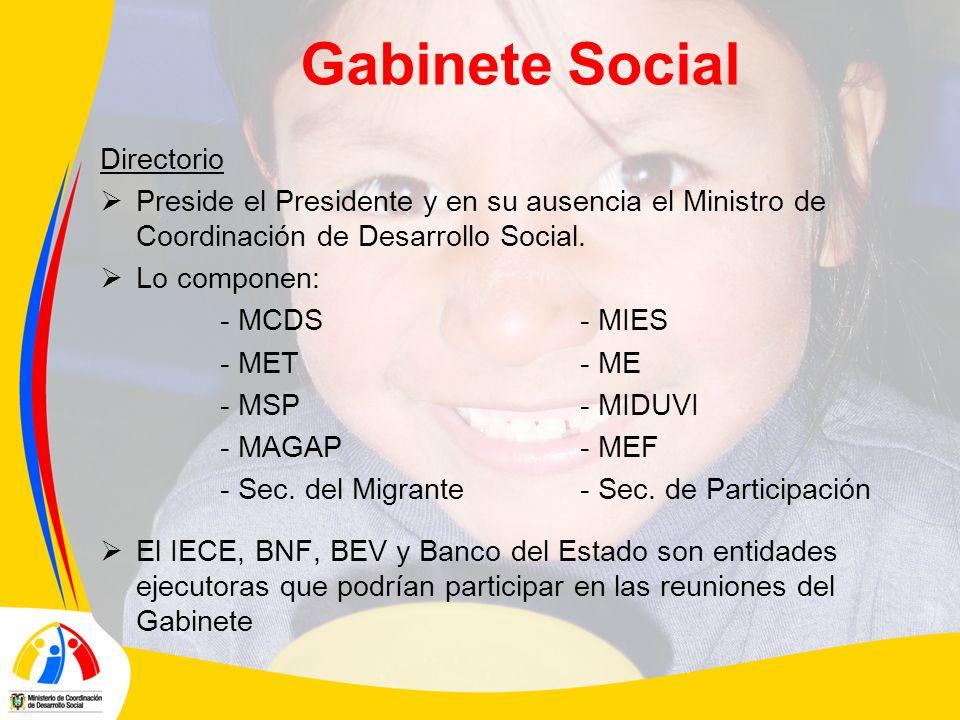 Gabinete Social Directorio Preside el Presidente y en su ausencia el Ministro de Coordinación de Desarrollo Social. Lo componen: - MCDS- MIES - MET- M
