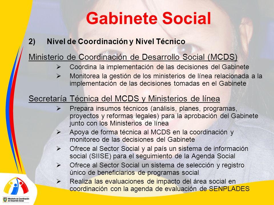Gabinete Social 2)Nivel de Coordinación y Nivel Técnico Ministerio de Coordinación de Desarrollo Social (MCDS) Coordina la implementación de las decis