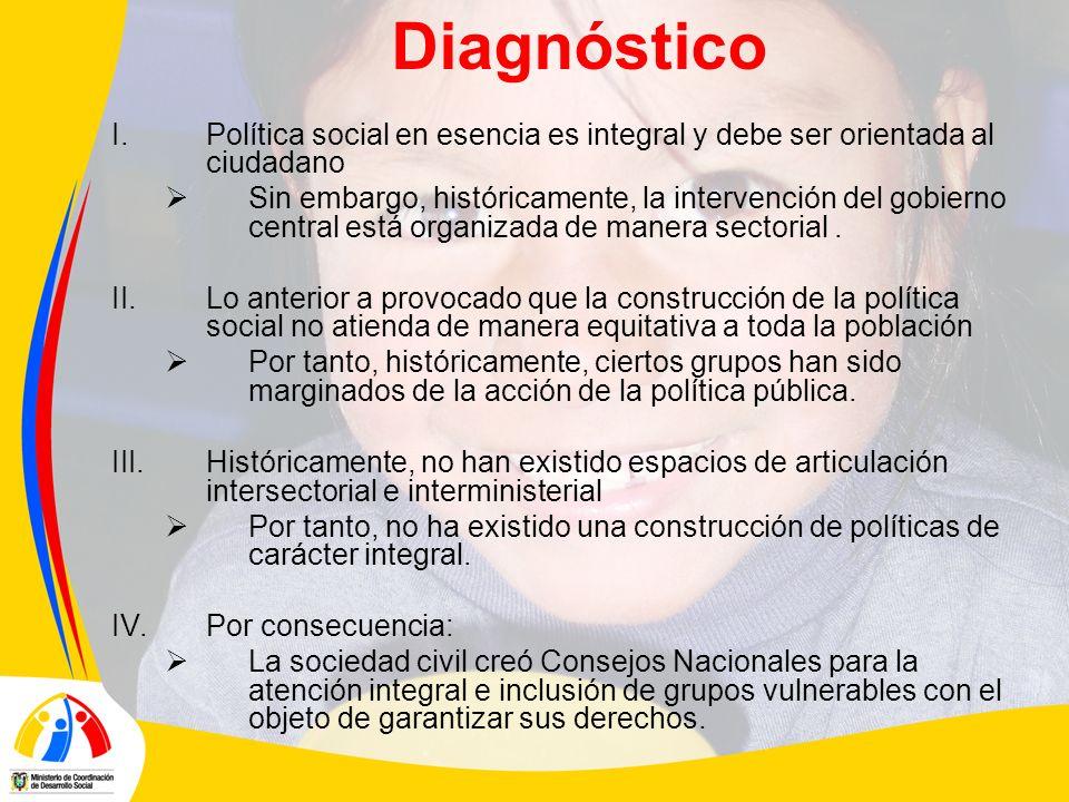 Diagnóstico I.Política social en esencia es integral y debe ser orientada al ciudadano Sin embargo, históricamente, la intervención del gobierno central está organizada de manera sectorial.