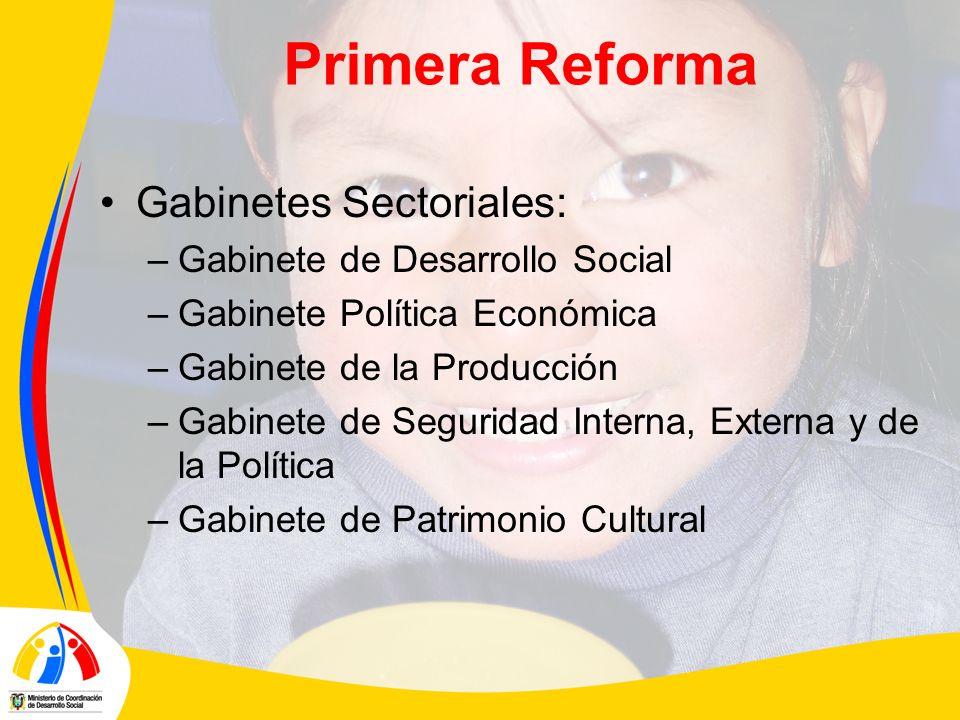 Primera Reforma Gabinetes Sectoriales: –Gabinete de Desarrollo Social –Gabinete Política Económica –Gabinete de la Producción –Gabinete de Seguridad Interna, Externa y de la Política –Gabinete de Patrimonio Cultural