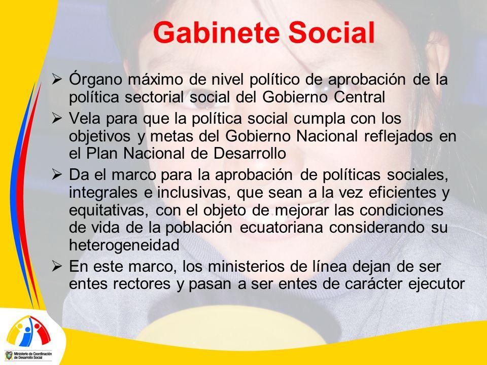 Gabinete Social Órgano máximo de nivel político de aprobación de la política sectorial social del Gobierno Central Vela para que la política social cu