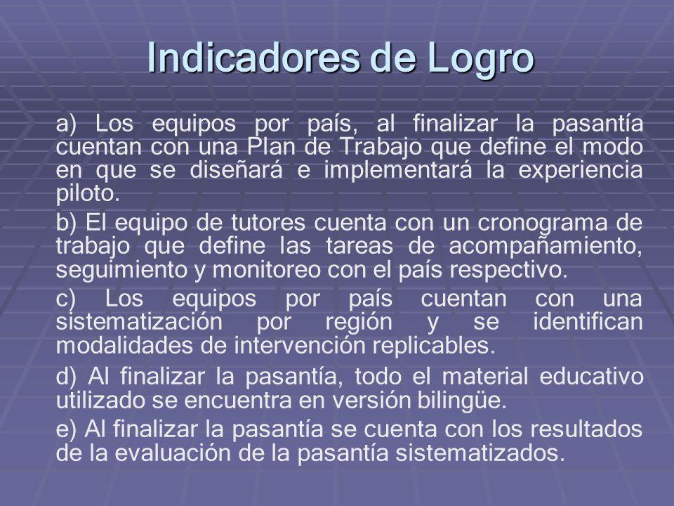 Indicadores de Logro a) Los equipos por país, al finalizar la pasantía cuentan con una Plan de Trabajo que define el modo en que se diseñará e implementará la experiencia piloto.