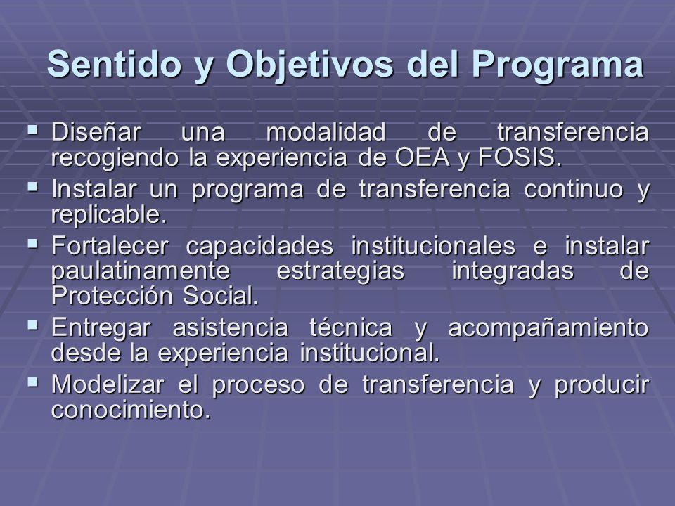 Sentido y Objetivos del Programa Diseñar una modalidad de transferencia recogiendo la experiencia de OEA y FOSIS.
