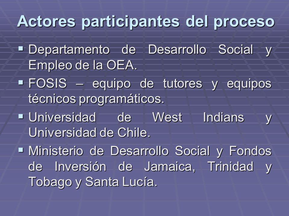 Actores participantes del proceso Departamento de Desarrollo Social y Empleo de la OEA.
