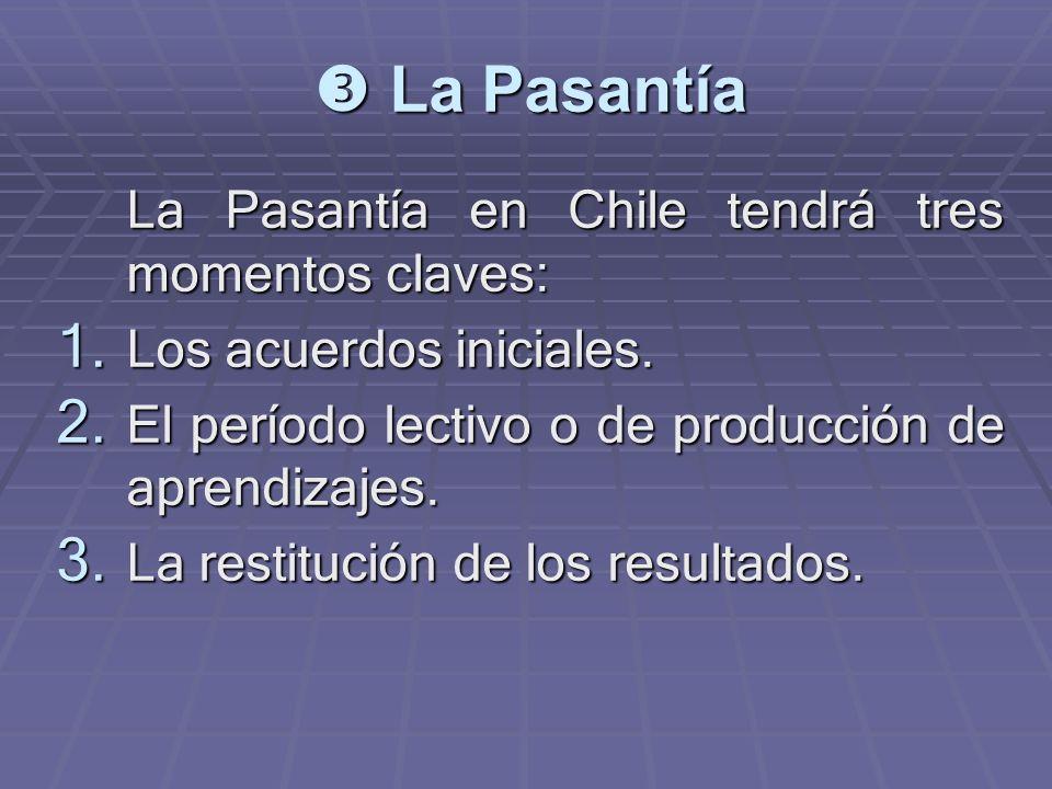 La Pasantía La Pasantía La Pasantía en Chile tendrá tres momentos claves: 1. Los acuerdos iniciales. 2. El período lectivo o de producción de aprendiz
