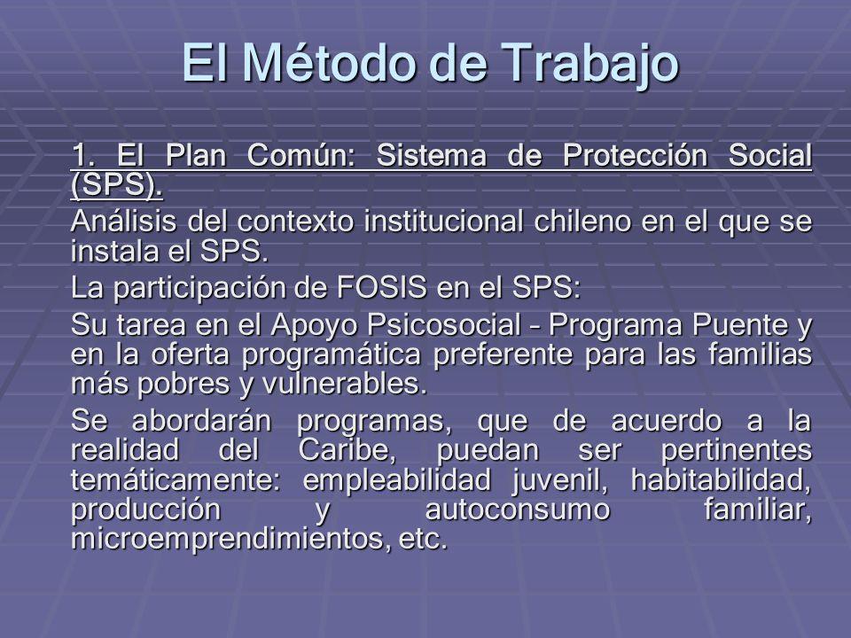 El Método de Trabajo 1. El Plan Común: Sistema de Protección Social (SPS).